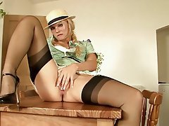 Blonde, British, Masturbation, Stockings