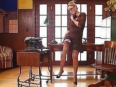 Blonde, Lingerie, Secretary, Stockings