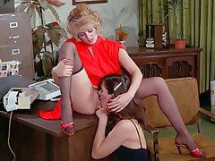 Cunnilingus, Hairy, Lesbian, Stockings